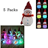 ZYJ-AWASA 5 Packs Multicolored LED Night Light Christmas Decoration Light LED Night Light UP Snowman Shaped Wearing with Hat