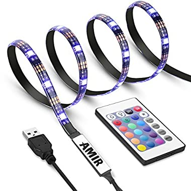AMIR TV LED Light Strip, 30 LED TV Backlight Strip, USB Bias Monitor Lighting, Changing Color Strip Kit , Accent Light Set , Waterproof Bias Lighting For TV Desktop PC (Wireless remote controller)