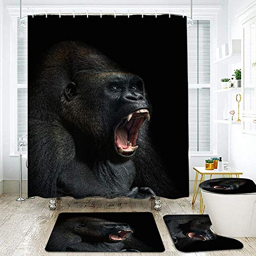 KGSPK 4Pcs Shower Curtain Sets with Non Slip Rugs,Toilet Lid Cover and Bath Mat,Animal ape Monkey Gorilla Silverback Teeth Portrait Close-up Mountain Africa Emotions,Bath Curtains Hooks Included