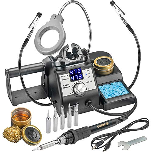 X-Tronic's 3060-PRO • Dual LED Display • 75 W Soldering Iron Station with 6 Solder Tips, Mini Mag Lamp, 2 Helping Hands, Sleep Func, 3 Temp Presets, Calibration Func, C/F Func & Brass Sponge w/Flux