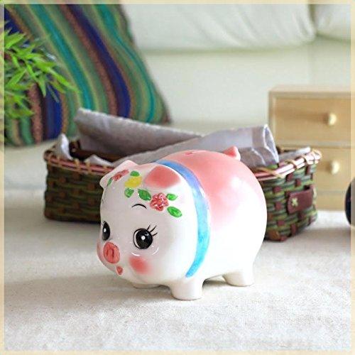 ぱっちりお目めの豚の貯金箱 中サイズ ブタ ぶた バンク 座ってる 貯金豚 雑貨 栓付き 国産 瀬戸焼