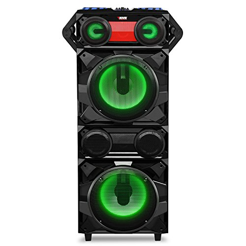 NOVIK NEO EARTHQUAKE DJ 2700W RMS Portable Party Audio System Bluetooth USB/SD MP3 Player Remote Control and microphone Included Audio Rhythmic Lights Perfect for Karaoke