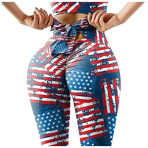 EUCoo TikTok Leggings de levantamiento de glúteos para mujer, cintura alta, estampado de bandera americana, leggings elásticos para yoga