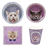 Cieovo Kitten Disposable Dinnerware Party Supplies Set for 16 Guests Including Dinner Plates, Dessert Plates, Lunch Napkins, Cups for Baby Shower Family Holiday Celebrations Cats Theme Party Decoration