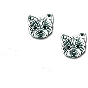 Sterling Silver Yorkie Puppy Post Earrings by The Magic Zoo