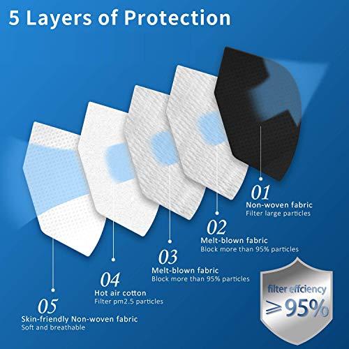 FFP2 Maske CE Zertifiziert schwarz 20 Stück- 5-Lagen hygienische Einzelnverpackung Atemschutzmaske