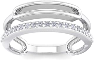 Perrian 18K White Gold 0.13 Carat (SI2 Clarity, GH Color) Round Diamond Ring for Women