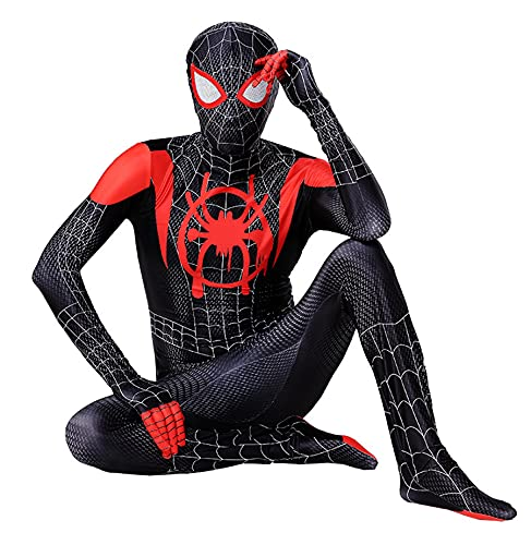 MIANslippers ṨṗḭDer Hombre Miles Morales Cosplay Disfraz de Halloween Jumpsuit Niños Papel Juego Bodysuit Trajes de cumpleaños Ropa de Fiesta,Lens version-kids/140