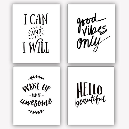 """Motivational Words Art Print Set Of 4 (10""""X8"""")Typography Print,Office Decor With Inspirational Lettering art print, Canvas Art Print Painting Poster For Study, Wall Art Home Decor, No Frame"""