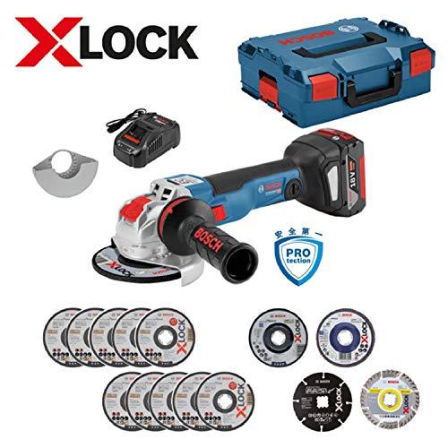 ボッシュ(BOSCH) 18V コードレスディスクグラインダー X-LOCK スタートキット(アクセサリーセット・8.0Ahバッテリー1個・充電器・キャリングケース付) GWX18V-10SC5J