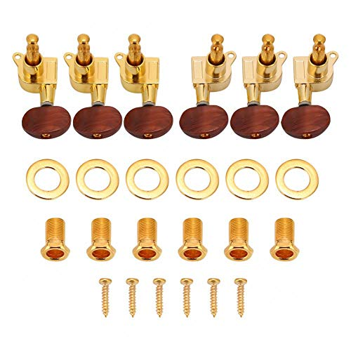 Dilwe 3L3R Gitarre Mechanik Stimmwirbel, Locking Tuners Mechaniken für Akustische E-Gitarre(Gold)