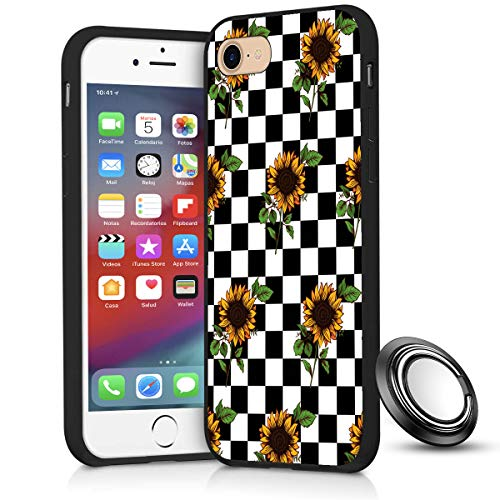 iPhone SE 2020/8/7 Case,Checkerboard Sunflower Slim Anti Scratch Shockproof Silicone Soft Rubber TPU Protective Case Cover with Phone Ring Holder Stand for iPhone SE 2020/8/7 4.7 inch