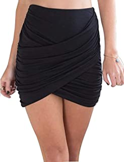 Yeshire Women's Sexy Wrap Runched Stretch Draped Mini Pleated Bodycon Pencil Skirt Small Black