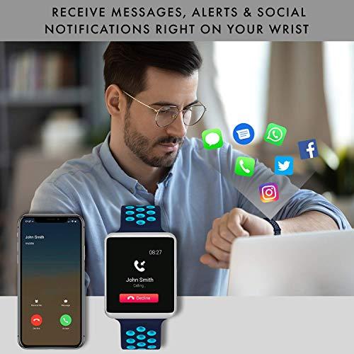 iTouch Air Special Edition - Smartwatch digitale e contapassi, cinturino in silicone perforato blu navy/turchese.