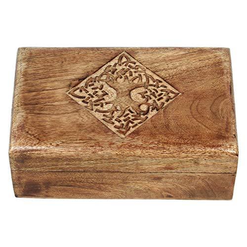 Ajuny Joyero de madera hecho a mano estilo campestre indio con diseño celta tallado a mano