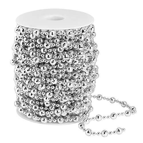 Ladieshow 20m Stringa di Perle Artificiali Perline per Decorazioni Fai da Te per Tende da Sposa Albero di Natale(Argento)