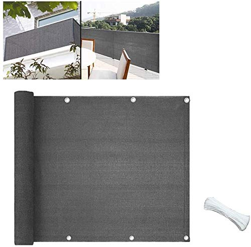 Toldo de privacidad para terraza, toldo para exterior – Valla de privacidad extensible, construcción de punto de alta resistencia, patio trasero, lona de tela de sombra (color gris, tamaño: 3 x 4 m)