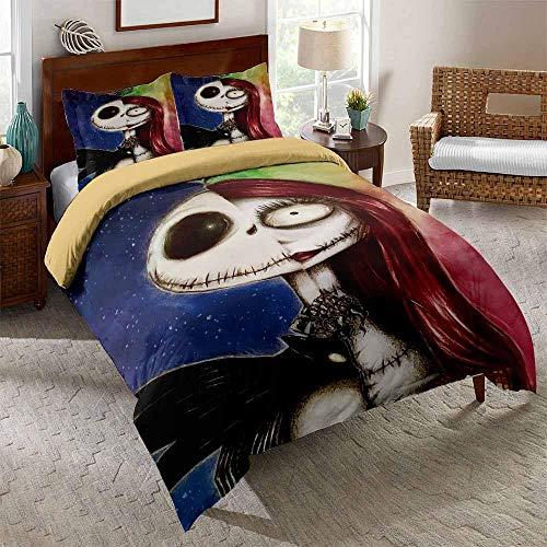 AHJJK Duvet cover set 87 x 94 inchRed skull 3D Printed Microfiber Bedding Duvet Cover with 2x Pillowcases & Zipper Closure Quilt Case for Boy Girl Single Double King Bed