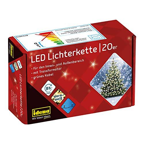 Idena 8325052 - LED Lichterkette mit 20 LED in warmweiß, mit 8 Stunden Timer Funktion und Transformator, ca. 3,9 m lang, für den Innen- und Außenbereich, für Partys, Weihnachten, Deko, Hochzeit