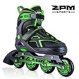 2PM SPORTS Torinx Green Black Boys Adjustable Inline Skates, Fun Rollerblades for Kids, Beginner Roller Skates for Girls, Men and Ladies - Large (US 5-8)