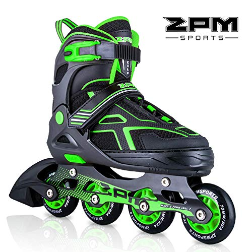 2pm Sports Torinx - Patines en línea ajustables, color verde y negro, unisex, para niños y adultos, verde, Medium - Big Kids(1-4UK)