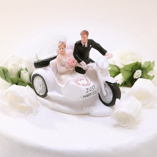 Groom Riding Motorcycle with Bride Sitting in Sidecar