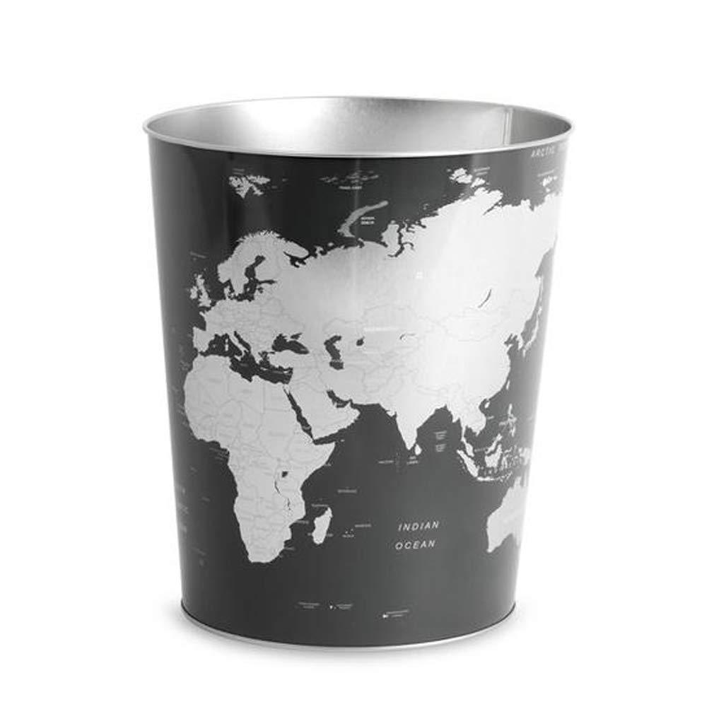 Balvi Papelera Globe Color Gris diseño Mapa Mundo Lata 26x22x17,7 cm
