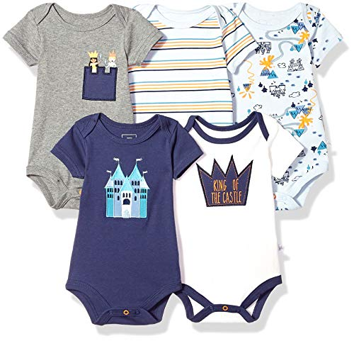 Rosie Pope Girls Baby 5 Pack Bodysuits, Space/Stars, 0-3 Months