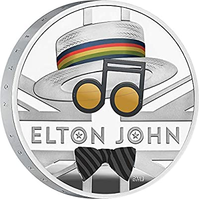 2020 GB Music Legends PowerCoin ELTON JOHN 1 Oz Silver Coin 2 Pounds United Kingdom 2020 Proof