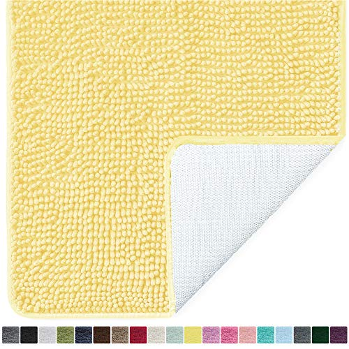 Gorilla Grip Original Luxury Chenille Bathroom Rug Mat, 24x17, Extra Soft and Absorbent Shaggy Rugs, Machine Wash Dry, Perfect Plush Carpet Mats for Tub, Shower, and Bath Room, Yellow