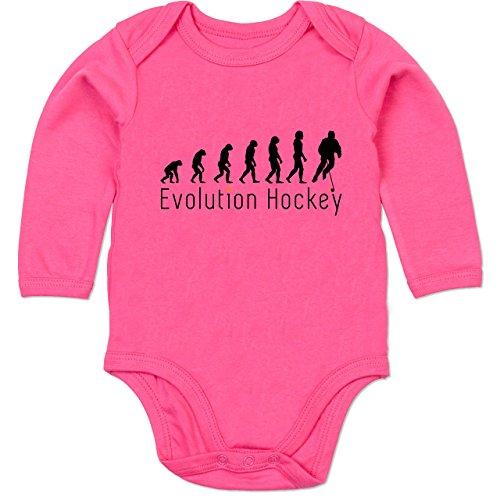 Shirtracer Evolution Baby - Evolution Hockey - 3/6 Monate - Fuchsia - Winter - BZ30 - Baby Body Langarm