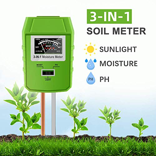 Big Save! JeahoreKy Soil pH Meter, 3-in-1 Soil Test Kits with Moisture,Light and PH Tester for Plant...