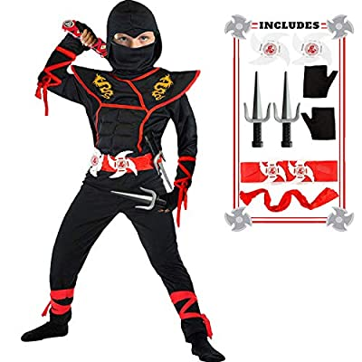 Ninja Costume Boy Halloween Kids Costume Boy Ninja Muscle Costume with Ninja Foam Accessories Best Children Gifts by SATKULL