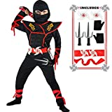 Ninja Costume Boy Halloween Kids Costume Boy Ninja Muscle Costume with Ninja Foam Accessories Best Children Gifts
