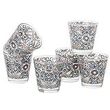 MONTEMAGGI Juego de 6 vasos de agua con diseño de Maiólicas, de cristal, fabricados en Italia, capacidad de 25 cl.