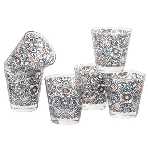 MONTEMAGGI Set 6 bicchieri acqua Decoro Colorato Stampato Maioliche in vetro MADE IN ITALY Capienza 25 Cl.