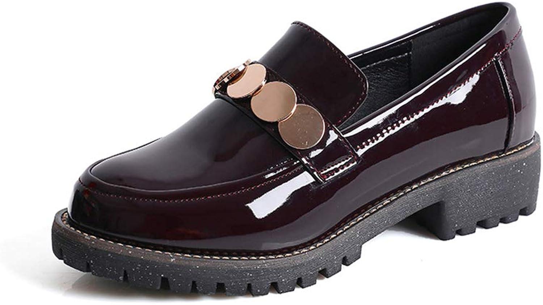 UYSK Lederschuhe für Damen Lederschuhe mit dickem Absatz im im britischen Stil Rover-Schuhe mit dicken Sohlen, Größe 5,5-10-rotwine-40