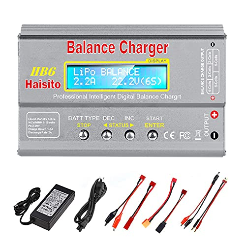 Lipo Charger HB6 RC Battery Balance Charger Lipo Battery Charger Discharger for LiPo/Li-ion/Life Battery(1-6s) NiMH/NiCd (1-15s) RC Hobby Battery Balance Charger 80W 6A