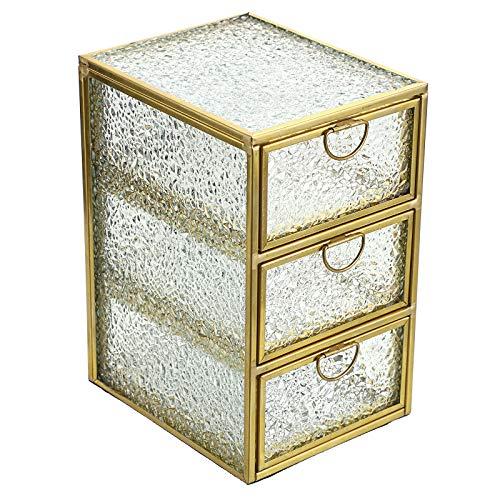 BTSKY Golden Glass Decorative Desktop Organizing Box, Jewelry Boxes, Home Decor Display Vintage Jewelry Organizer Holder with Drawers Small