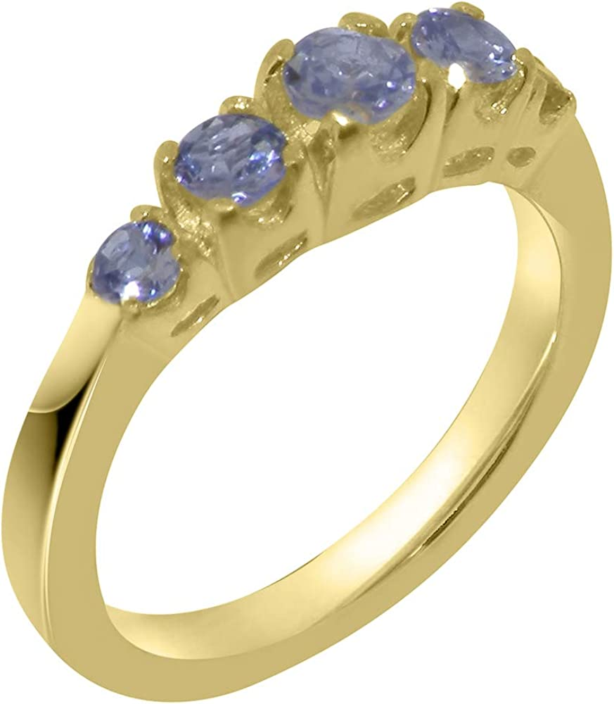 Solid 14k Yellow Gold Natural Tanzanite Womens band Ring - Sizes 4 to 12 Available