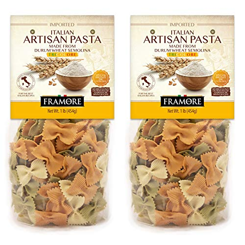 FRAMORE Tricolor Bow Tie Farfalle Pasta Italian one pound Pack of two Authentic Made Imported from Italy Gourmet Artisan of durum wheat semolina flour dried in a bag Veggie Vegan