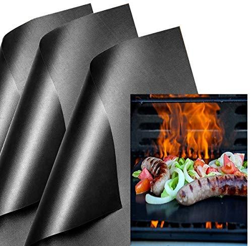 KINLO Backpapier Dauerbackfolie schwarz Backfolie für Backofen (6er Set) BBQ Grillmatten Antihaft Backmatte wiederverwendbar Backpapier für Lebensmittel Pizz Brot PFOA-Frei FDA Teflon Grill 40 * 33cm