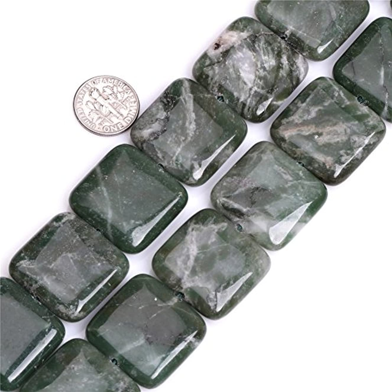 African Jade Beads for Jewelry Making Natural Gemstone Semi Precious 25mm Square Green 15