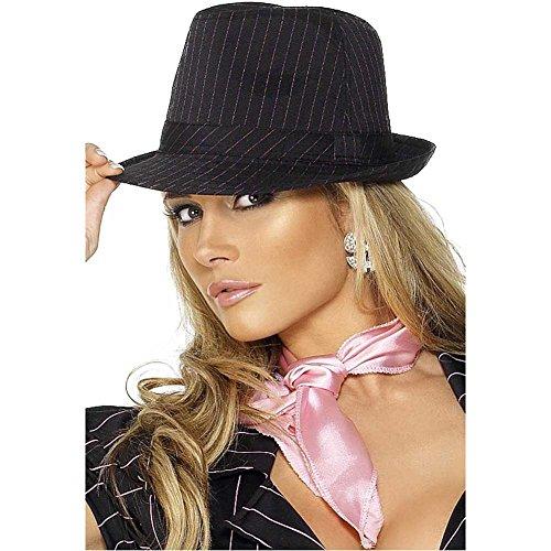 Fever Kollektion Gangster Filzhut Schwarz Rosa Streifen Deluxe, One Size