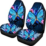 Spring Warner Butterflies 3D Design Universal Front Car Seat Cover Winter Warm Women Carseats Covers Fit Cars,Truck,SUV,Vans Pack of 2 Blue