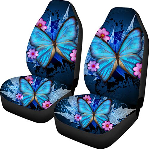 BIGCARJOB Trendy Car Seat Covers Ble Butterfly Print High Back Seat Cover Set of 2 Ultra-Soft Universal Fit