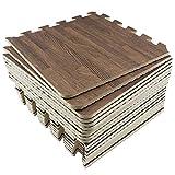 UMI. Essentials 1' x 1'(30cm x 30cm) Tapetes De Espuma De Que Se Enclavamiento (Grano de Madera) (9 Piezas Oscuro) …