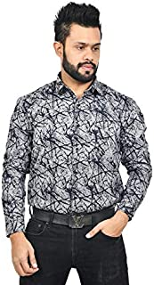 The Mods Men's Formal Grey Color Printed Shirt