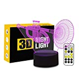 Cirkooh Trumpet Shape 3D Optical Illusion Lamp 7 Colors Change Timing Remote Control and Touch Button LED Table Desk Lamp for Home Bedroom Decoration