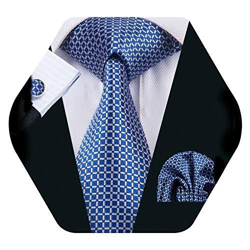 Barry.Wang Schottenkaro Krawatte Einstecktuch Manschettenknöpfe quadratisch Seide gewebt kariert Hochzeit formell Gr. Einheitsgröße, ozeanblau